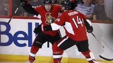 Ottawa Senators forward Jean-Gabriel Pageau (L) celebrates his goal against the Montreal Canadiens with teammate Colin Greening during the third period of their NHL Eastern Conference quarterfinal hockey game in Ottawa May 5, 2013. (CHRIS WATTIE/REUTERS)