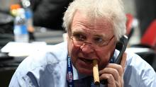 General Manager and President Glen Sather of the New York Rangers works the phones during the 2009 NHL Entry Draft at the Bell Centre on June 27, 2009 in Montreal, Quebec, Canada. (Photo by Bruce Bennett/Getty Images) (Bruce Bennett/2009 Getty Images)