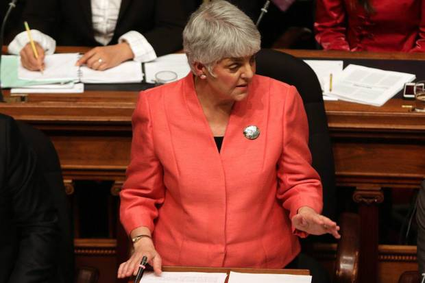 Carole James, now Finance Minister, reacts following the former BC Liberal government's budget in February, 2016.