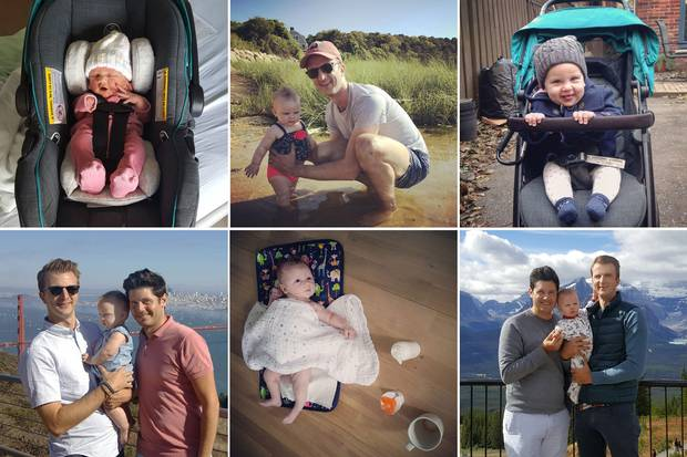 Eva, Year One: Scenes from the new family's life include Eva's trip home from the hospital, top left, trips to San Francisco and Lake Louise, and many moments in between.