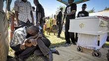 Members of the Ugandan gay community mourn at the funeral of murdured activist David Kato near Mataba, on January 28, 2011. (Marc Hofer/AFP/Getty Images/Marc HoferAFP/Getty Images)