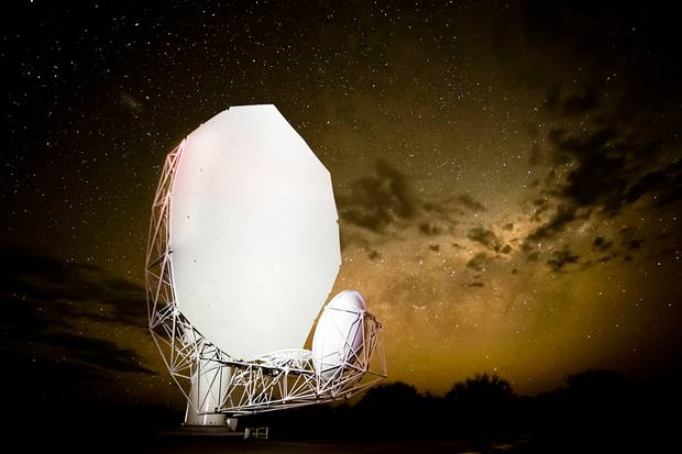 The world's most powerful telescope, known as the Square Kilometre Array, which is currently under construction in a remote region of South Africa.