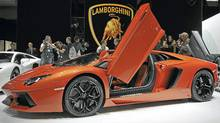 Lamborghini Aventador LP 700-4 on display at the Geneva auto show. (FABRICE COFFRINI/FABRICE COFFRINI/AFP/Getty Images)