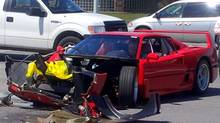 A Ferrari F40 was T-boned this week by a Dodge Dart in Woodbridge, according to a reader who supplied this photo. (Reader-submitted photo)