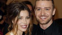 "Actress Jessica Biel and singer Justin Timberlake arrive at the Metropolitan Museum of Art Costume Institute Benefit celebrating the opening of ""American Woman: Fashioning a National Identity"" in New York May 3, 2010. (Reuters)"