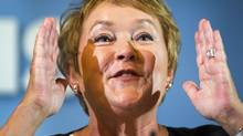 Parti Quebecois leader Pauline Marois speaks to reporters while campaigning at the CEGEP Monday, August 27, 2012 in Sorel, Que. (Ryan Remiorz/THE CANADIAN PRESS)