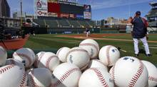 The Cleveland Indians take the field during workouts in preparation for Thursday's opening day Major League Baseball game against the Toronto Blue Jays at Progressive Field in Cleveland on Wednesday, April 4, 2012. (Amy Sancetta/AP)