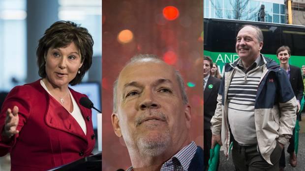 B.C. Premier Christy Clark, left; NDP Leader John Horgan, middle; and B.C. Green Party Leader Andrew Weaver.