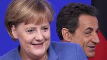 Angela Merkel and Nicolas Sarkozy in Brussels Oct. 23, 2011 (THIERRY ROGE)