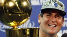 Dallas Mavericks owner Mark Cuban smiles during a news conference after Game 6 of the NBA Finals basketball game against the Miami Heat Sunday, June 12, 2011, in Miami. (Wilfredo Lee/AP)