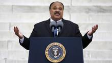 "Martin Luther King III speaks during a ceremony in August marking the 50th anniversary of his father Martin Luther King Jr.'s ""I have a dream"" speech on the steps of the Lincoln Memorial in Washington, D.C. (Jason Reed/Reuters)"