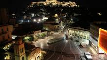 Monastiraki square, a vibrant tourist neighbourhood, sits under the Acropolis upon which sits the Parthenon. (Alexander Besant)
