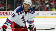 Scott Gomez of the New York Rangers looks into the crowd during a timeout against the New Jersey Devils during game two of the 2008 NHL Eastern Conference Quarterfinals on April 11, 2008 at the Prudential Center in Newark. (Jim McIsaac/2008 Getty Images)