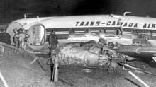 Three passengers and the captain of this Trans-Canada Air Lines plane were hurt when the plane crash landed on Oct. 3, 1959, near Malton Airport (now Toronto Pearson International Airport) during a rainstorm. (John Gillies/The Globe and Mail)