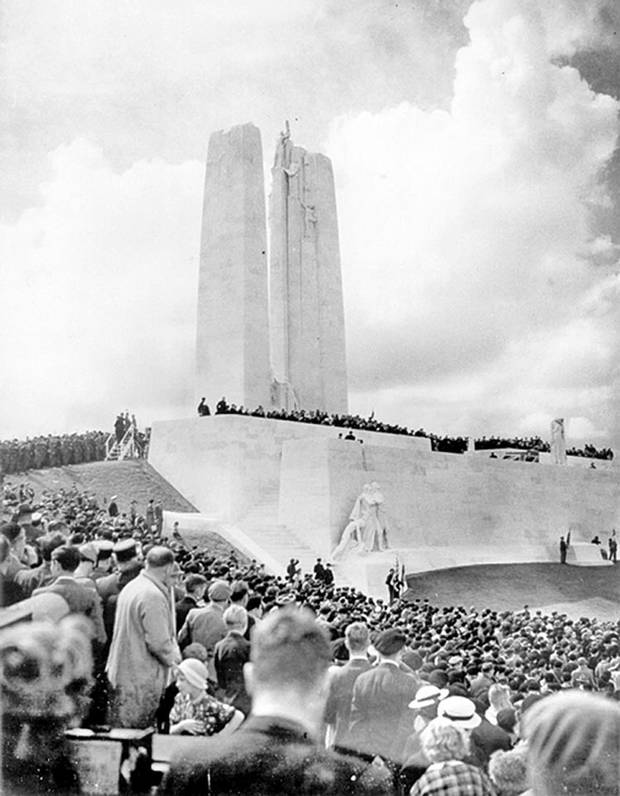 Thousands gather at the newly unveiled Vimy Ridge Memorial on July 26, 1936.