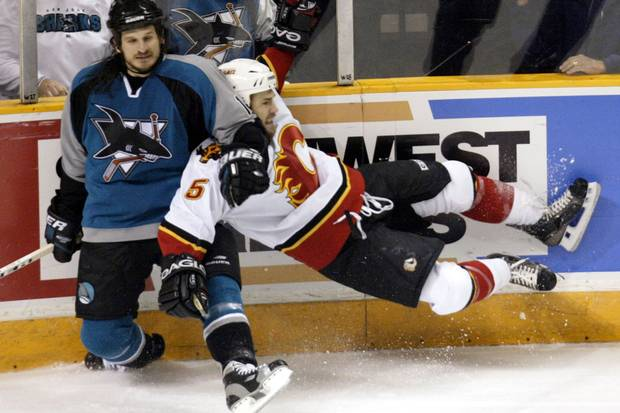 Over 10 seasons, NHL defenceman Steve Montador – shown at right in 2004, playing for the Calgary Flames – played for six NHL teams in 571 games. He died in 2015 at the age of 35.