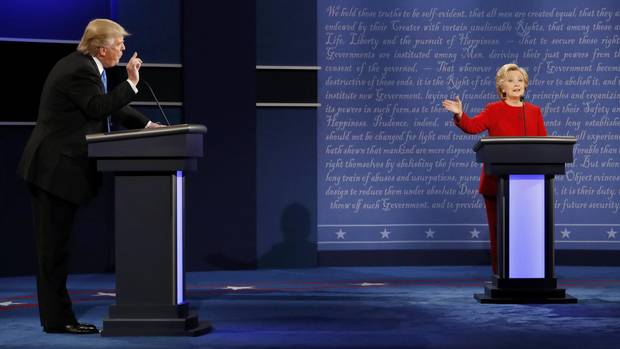 Republican nominee Donald Trump and Democratic rival Hillary Clinton engage in an exchange during the first presidential debate at Hofstra University in Hempstead, N.Y., on Monday night.