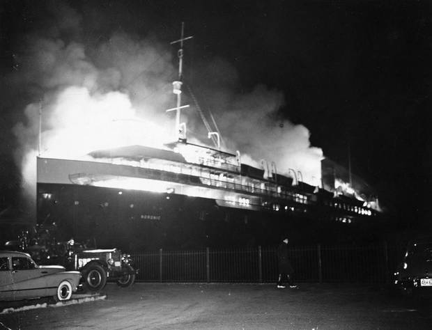 The SS Noronic caught on fire while docked in Toronto Harbour on Sept. 16, 1949. The death toll from the disaster was never precisely determined, but estimates range anywhere from 118 to 139 deaths.