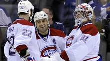 Montreal Canadiens celebrate in third period of game against Toronto Maple Leafs April 9, 2011 (MIKE CASSESE)