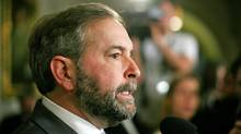Opposition Leader Thomas Mulcair responds to the Conservative government's budget in the foyer of the House of Commons on March 29, 2012. (Dave Chan/Dave Chan for The Globe and Mail.)