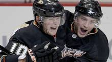 Anaheim Ducks right wing Corey Perry (10) celebrates his goal with right wing Bobby Ryan in the third period against the Phoenix Coyotes in an NHL hockey game in Anaheim, Calif., Sunday, Oct. 17, 2010. The Ducks won 3-2. (AP Photo/Alex Gallardo) (Alex Gallardo/Associated Press)