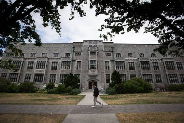A student walks past the UBC Chemistry Building.