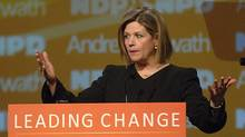 Ontario NDP Leader Andrea Horwath speaks at the Ontario NDP convention at the Hamilton Convention Centre in Hamilton, Ontario, Saturday, April 14, 2012. (SHERYL NADLER/THE CANADIAN PRESS)