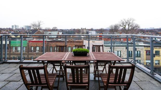 The 531 square-foot outdoor area.