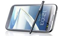 "In addition to the usual touchscreen interface, the Samsung Galaxy Note II comes with a digital pointer pen, tucked into the bottom right corner of the phone. Once you pull the pen out, the phone jumps to attention and brings up the ""S Pen"" screen. This screen is your gateway to designing various memos using the pen. Think of these memos as super-powered Post-It notes. (Handout/Samsung)"