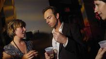Actor Hugo Weaving (centre) at the TIFF Premiere Editorial Magazine Party in 2005: Now would not be a good moment to pitch him your film. (Darryl James/Getty Images)