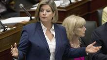 Ontario NDP Leader Andrea Horwath, shown Sept. 9, 2013, is accusing the Liberal government of using a legislative accord with the Progressive Conservatives to 'ram through' a law to help a construction company that donated large sums of money to both parties. (MOE DOIRON/THE GLOBE AND MAIL)