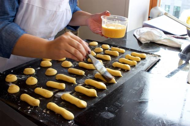 Eclairs are prepared at Montreal's Maison Christian Faure.
