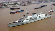 HMCS Regina is shown in 2006. A crew member on Regina who was on his way home for leave has died in hospital in Tanzania. (ASSOCIATED PRESS)