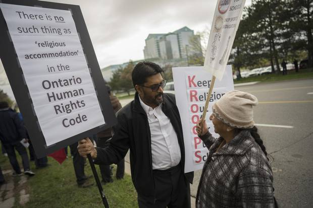 Ram Subrahmanian, left, has become an active participant in protests of religious accommodation in Peel schools as of late. Mr. Subrahmanian and his peers say the policy amounts to favouritism.