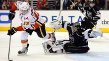 Calgary Flames left wing Mike Cammalleri scores the game winning goal past Los Angeles Kings goalie Ben Scrivens (USA TODAY SPORTS)