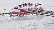 Canada's, from left, Lesley Thompson-Willie, Andreanne Morin, Darcy Marquardt, Ashley Brzozowicz, Natalie Mastracci, Lauren Wilkinson, Krista Guloien, Rachelle Viinberg, and Janine Hanson stroke during a women's rowing eight heat in Eton Dorney, near Windsor, England, at the 2012 Summer Olympics, Sunday, July 29, 2012. Canada won the heat. (Armando Franca/AP)