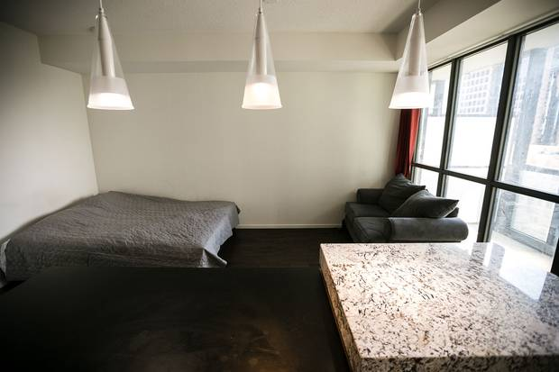 Inside a bachelor unit at the X2 condo building.