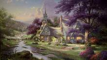 "Detail of ""Clocktower Cottage"" by Thomas Kinkade (Tibor Kolley/The Globe and Mail)"