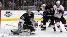 Los Angeles Kings goalie Jonathan Quick makes a pad save against the Ottawa Senators. (Reuters/Reuters)