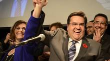 Denis Coderre celebrates after winning the mayoral election Sunday, Nov. 3, 2013 in Montreal. (Ryan Remiorz/THE CANADIAN PRESS)