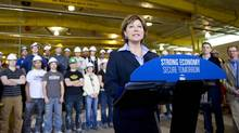 B.C. Liberal leader Christy Clark makes an announcement at Horizon North Manufacturing during a campaign stop in Kamloops, B.C. on Thursday, May 2, 2013. British Columbians will go to the polls May 14th. (JIMMY JEONG/THE CANADIAN PRESS)