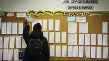 A Canadian youth searches a job board in Toronto in 2009, at the height of the recession. In May, 2013, the youth jobless rate dropped by almost a full percentage point. (Kevin Van Paassen/The Globe and Mail)
