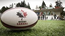 The Canadian women's national Rugby team during training at the new West Coast home of Rugby Canada in Langford, B.C. February 24, 2012. Close-up of the rugby ball with Rugby Canada logo. (John Lehmann/The Globe and Mail) (John Lehmann/The Globe and Mail)