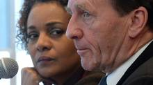 University of Ottawa Chancellor and former Governor General Michaelle Jean and University of Ottawa President Allan Rock hold a press conference on campus in Ottawa on Thursday, March 6. (Sean Kilpatrick/THE CANADIAN PRESS)