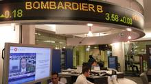 File photo of stock market sign with Bombardier B. (Fernando Morales/The Globe and Mail)