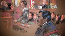 This courtroom drawing shows ex-hedge fund tycoon Raj Rajaratnam, right, who is charged with illegal insider trading, listening as Assistant U.S. Attorney Jonathan Streeter, centre, speaks in court before Judge Richard Howell. (SHIRLEY SHEPARD/AFP/Getty Images)