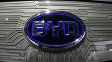 A BYD (Build Your Dreams) logo is seen on the front of an e6 electric vehicle during the press days for the North American International Auto show in Detroit, Michigan, in this January 11, 2011 file photo. (MARK BLINCH/REUTERS)
