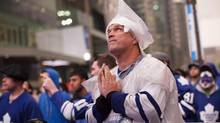 Jim Ward watches as the Toronto Maple Leafs take on the Boston Bruins in NHL playoffs at Toronto's Maple Leaf Square on Friday, May 10, 2013. (Michelle Siu/The Globe and Mail)