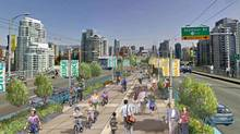 Conceptual drawing of the Granville Street Bridge with pedestrian centre (Handout)