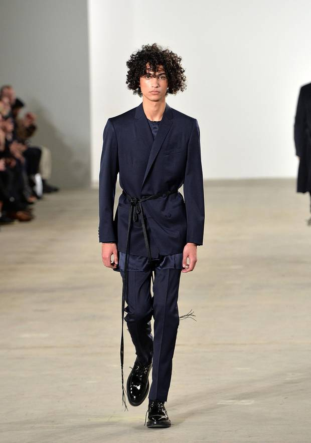 Ovadia & Sons: The twin brother-helmed New York label took a loungier approach to the blue suit with a wrap-style blazer.